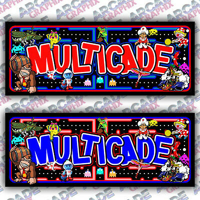 Multicade Arcade Game Cabinet Pacman Style Marquee Graphic Artwork 60-1 60in1