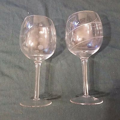 "2 Unbranded Wine Glasses 9"" Tall 13.5"" Round"