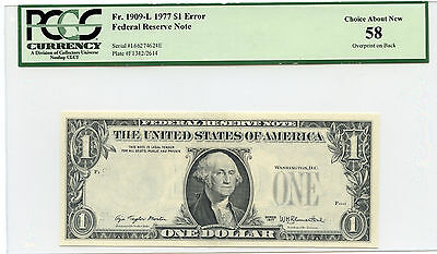1977 $1 Federal Reserve Note ( Error 3rd Print on Back ) Fr 1909-L - PCGS 58 -