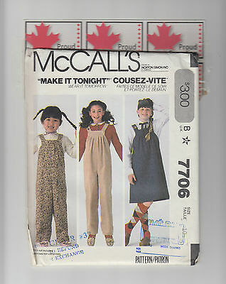 McCALLs pattern 7706 child girl pinafore overall jumper jumpsuit Sz 10 uncut