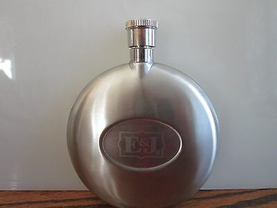 "E & J Small Stainless Steel Flask 4"" round"