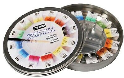 Pebeo Aquarelle Fine Watercolour Round Tin Set of 12 Half Pans & 1 Pocket Brush