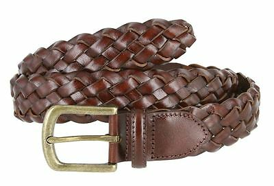 "Men's Genuine Leather Woven Braided Dress Casual Belt 1-3/8"" Wide Black Brown"
