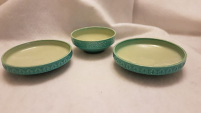 Beswick Turquoise Cathay set of 3 small bowls trinkets / pin dishes