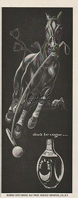 1953 Haig Scotch Whisky Markinch Scotland Runaway Polo Horse Vintage Print Ad