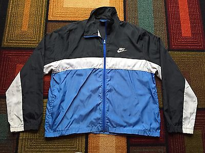 43af6f3196 Vintage 80s Nike Blue Tag Full Zip Windbreaker Jacket L Black Blue Gray  Swoosh