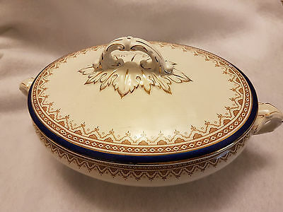Thos Till & Sons Burslem lidded Tureen in white with cobalt blue and gold
