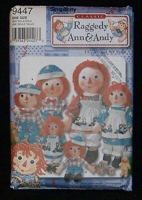 """Raggedy Ann & Andy Dolls Pattern for Sewing Simplicity 26"""" & 36"""" Dolls"""