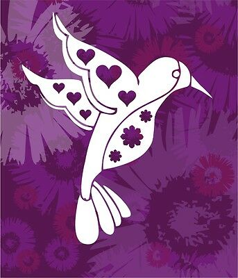 Smaller Groovy Hummingbird Pick Your Color Vinyl Car Window Sticker Decal