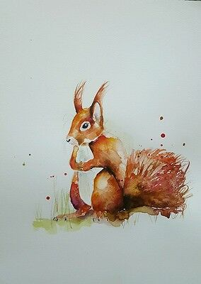 """ELLE SMITH ART. ORIGINAL & SIGNED LARGE WATERCOLOUR PAINTING. 16x12"""" """"SQUIRREL"""""""