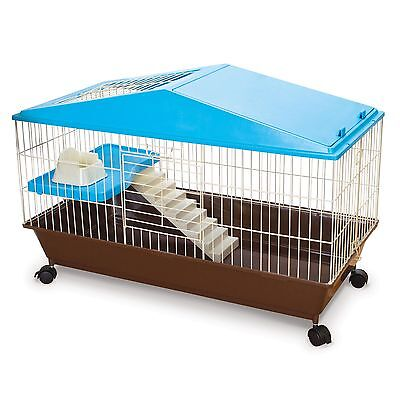 Small Animal Cage Pet House Wire Guinea Pigs 2 Levels Shelf Nest Rolling Home
