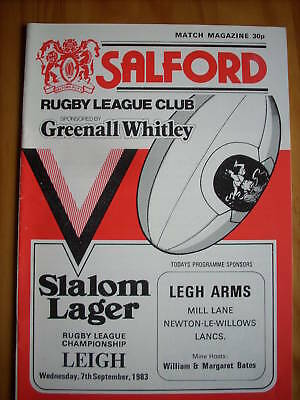Salford v Leigh programme 7.9.83