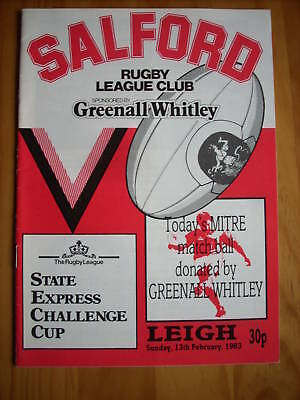 Salford v Leigh programme 13.2.83 Challenge cup
