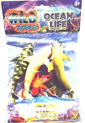 Wild World Bag Of 5 Toy Small Plastic Sea Creatures Sharks , Dolphins , Octopus