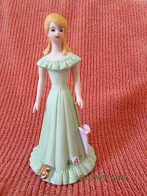ENESCO Figurine 1981 Growing Up Birthday Girls Age 15 Blonde Green Dress EX!