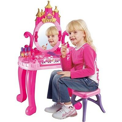 New Girls Pink Dressing Table Vanity Mirror Play Set Toy Make Up Desk With Stool