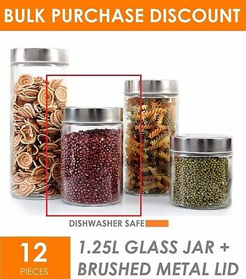 12 x 1250ml Glass Jar with Metal Lid - Kitchen Storage Jars Canister Container