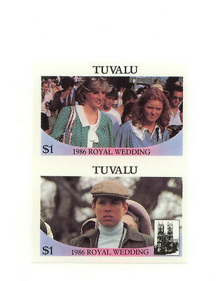 Tuvalu Royal Wedding Pricess Fergie and Diana Imperf Pair 1986 Scarce MNH 22-035