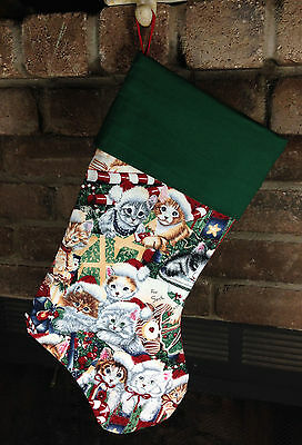 Hand Crafted Christmas Holiday Stocking Cute little kittens, Handmade in USA!