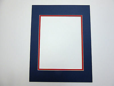 Picture Frame Double Mat 10x13 For 8x10 Photo Blue With Red Liner