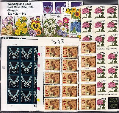 US Postage - 68 Love and Wedding Post Card rate (32c +2c) stamps Below Face, MNH