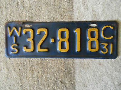 1931  Wisconsin License Plate   original paimt 1931  Ford  model A ? 1931 Chev?