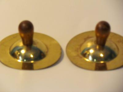 """Vintage 3"""" Cymbals With Wooden Handles"""