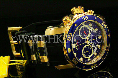 NEW Invicta Men Scuba Pro Diver Chrono 18K Gold Plated Blue DialS.S Poly Watch