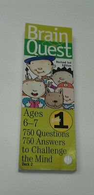 """BRAIN QUEST Deck Two revised 3rd edition AGES 6-7  """"750  ?'s to challenge mind"""