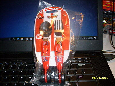 """Disney Store """"cars"""" Meal Time Magic Cars Fork & Spoon Flatware Set With Wheels!"""
