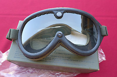 Military Issue Sun-Wind-Dust GOGGLES NSN 8465-01-004-2893 Clear-Gray LENS & Box