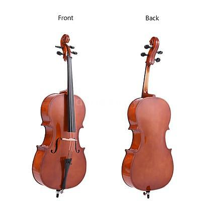 New 4/4 Full Size Wooden Cello with Bow Rosin Carrying Bag for Students M6J0