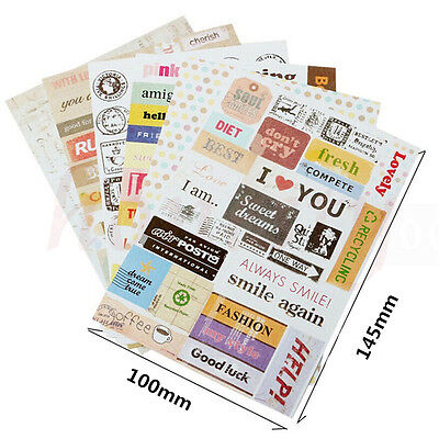 6x Retro DIY Calendar Paper Stickers for Scrapbooking Diary Planner Sticky