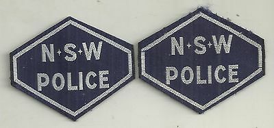 PAIR VINTAGE OBSOLETE  NSW POLICE HEX PATCHES not BADGE