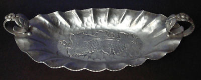 World Hand Forged Aluminum Tray w/ Handles Grape Pattern 1950's