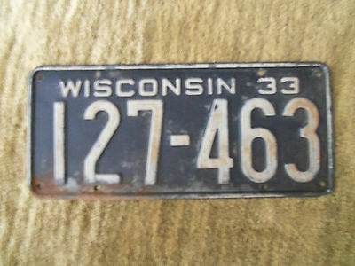 1933  Wisconsin License Plate  1933  Chevrolet  1933  Buick 1933 Ford  ?