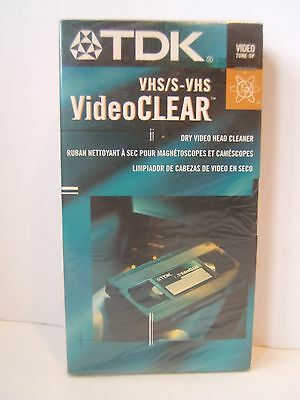 TDK VCR VHS Dry Video Head Cleaner VideoClear Sealed New Old Stock Discontinued