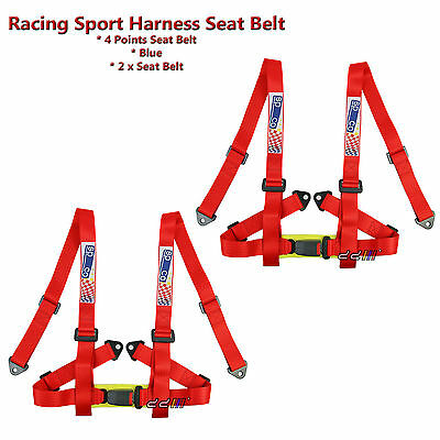 """4 Point SeatBelt Racing Sports Seat Belt 2"""" Harness Safety Belt Red 1 Pair"""