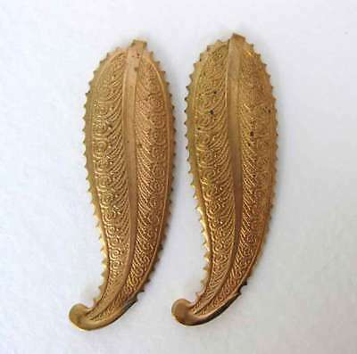 Vintage Brass Stamping Scalloped Embossed Leaves 50mm