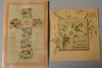 Lot Of 1800's Victorian Greeting Cards  A Joyful  Easter Chromolithograph