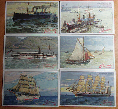 Set Of 6 Early 1900's German Palmin Fine Plant Butter Boats, Ships And Steamers
