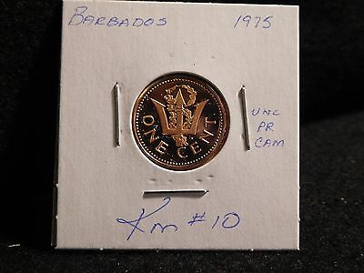 Barbados:   1975   1 Cent  Coin  Proof   (Unc.)    (#3841)  Km # 10