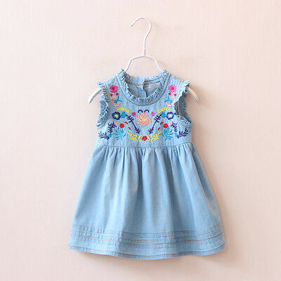 Floral Embroidery Kids Baby Girls Sleeveless Casual Party Princess Denim Dress