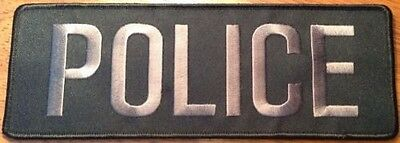 Police Bag Patch, Law Enforcement, Grey on Black, Hook Rear