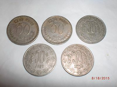 """- Republic Of  India - 5  Old  """" Fifty  Paise """" Coins - Rare - 1975-1988 # 5Mj"""