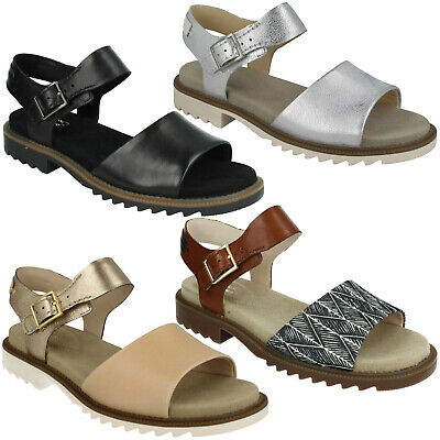 033964f307f2 Ladies Clarks Ferni Fame Leather Open Toe Buckle Smart Casual Flat Summer  Sandal