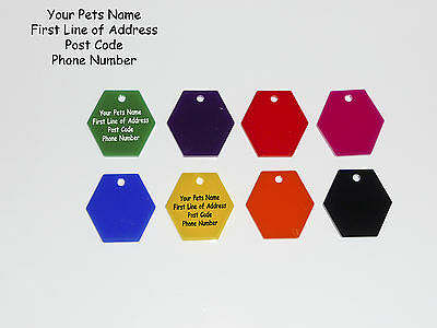 Cat or Dog Tags,30mm Hexagonal Acrylic Pet Tag - Free Engraving Design