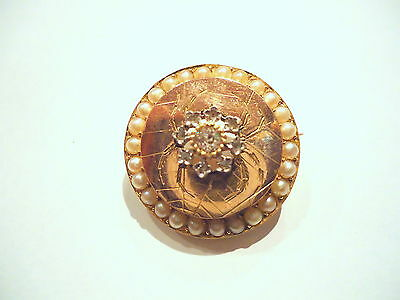 BELLE BROCHE ANCIENNE EN OR 18K ORNEE DIAMANTS ET PERLES or 18 carats