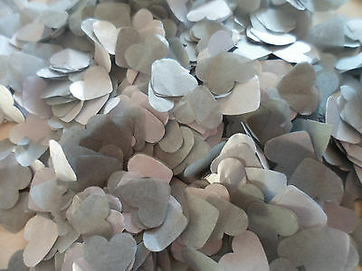 1500 Silver & Grey Tissue Hearts/Wedding/Celebration/Party Confetti Decoration
