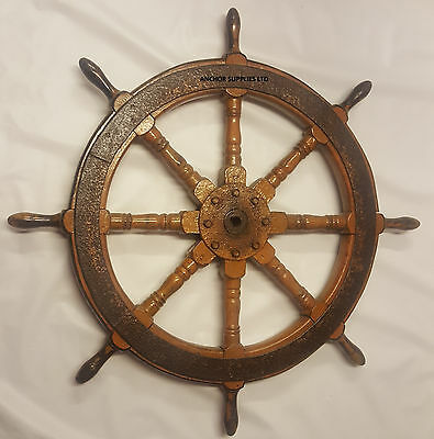 Large Antique / Vintage Ships Wheel - Solid Wood / Genuine not a Copy!